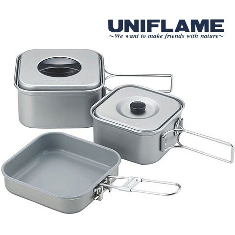 【日本 UNIFLAME 】鋁合金四方鍋三件組 (日本製)  667705 麵鍋組 泡麵 炊具 碗 餐盤 飯勺 煎盤 套鍋組