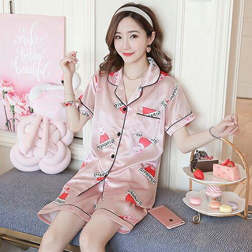 日系冰絲綢兩件套裝短袖家居服(2色M~2XL)【OREAD】 0