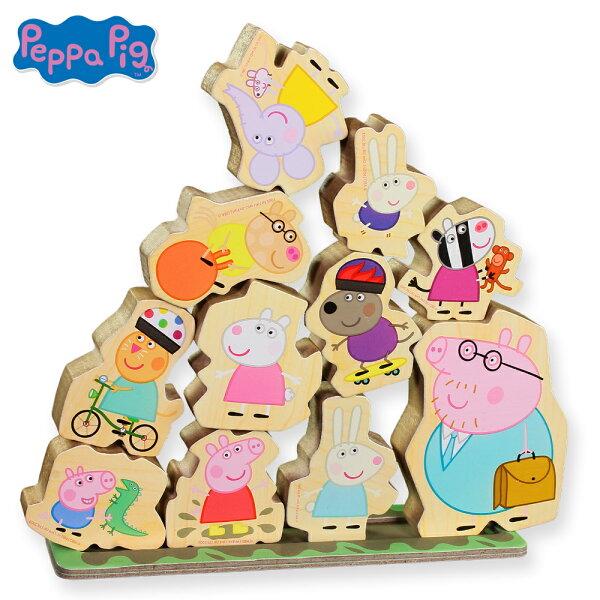 粉紅豬小妹木頭堆高遊戲組