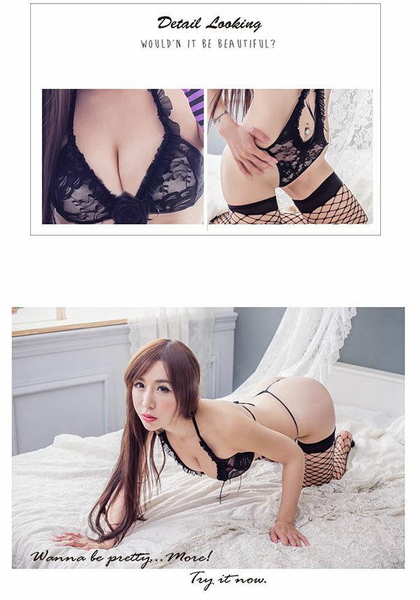 情趣內衣褲 黑色蕾絲性感內衣褲~流行E線A7117 2