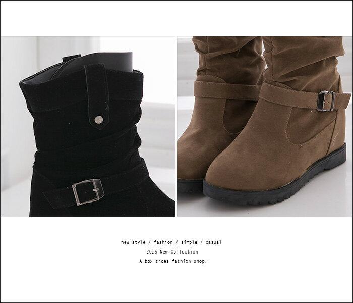 ★399免運★格子舖*【AA030】時尚韓版經典百搭抓皺 麂皮金屬扣環 5CM內增高短筒靴 機車靴 工程靴 3色 2