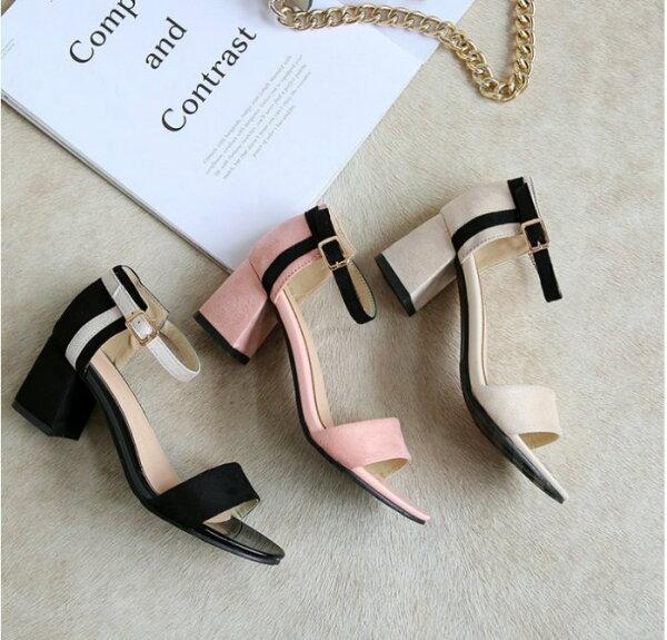 Pyf♥簡約素絨面一字細帶繞踝低跟方頭涼鞋粗跟鞋加大46大尺碼女鞋