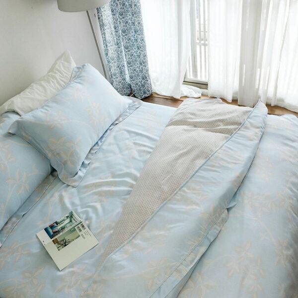 台灣製天絲60支紗【葉影】床包(兩用被套)四件組雙人、加大尺寸絲薇諾