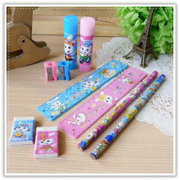 【aife life】韓系卡通文具組-B版/可愛卡通鉛筆/橡皮擦/造型尺/削鉛筆機