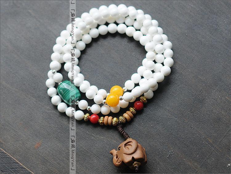 白硨磲三圈手鏈 可做項鏈 桃木小象 辟邪 孔雀石