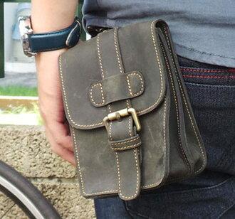 真皮手機腰包-休閒復古瘋馬皮 皮帶扣 5~7吋 手機袋 手機包 掛包 真皮包 收納包 相機包(深藍色)