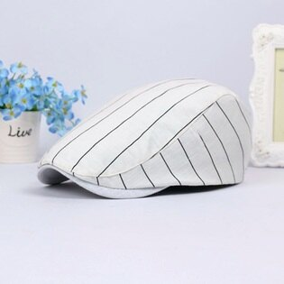 貝雷帽鴨舌帽-條紋舒適棉質防曬男女帽子2色73tv110【獨家進口】【米蘭精品】