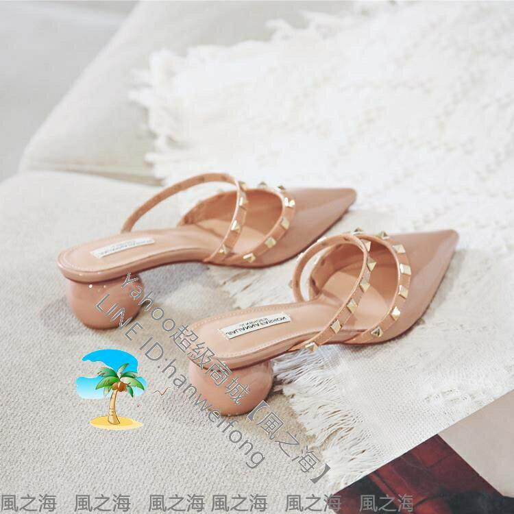 半拖鞋 包頭涼鞋女尖頭粗中高跟年新款ins潮半拖鞋鉚釘柳丁外穿瓢鞋【風之海】