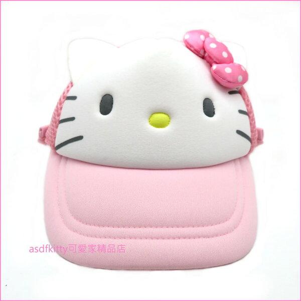 asdfkitty可愛家☆KITTY粉紅色大臉造型兒童用棒球帽-附防曬遮陽布-頭圍可調-日本正版商品