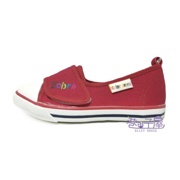 【巷子屋】COLORZEBRA彩色斑馬童款魔鬼氈硬頭帆布鞋[2075]紅MIT台灣製造超值價$198