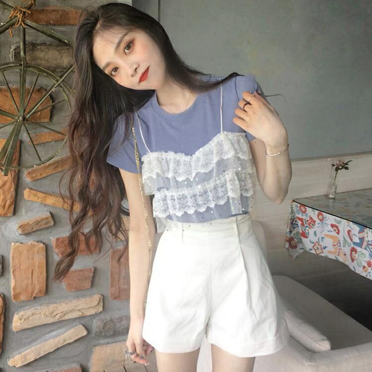 短袖T恤 韓版女裝新款蕾絲拼接假兩件上衣圓領短袖針織針織衫百搭T恤 概念3C