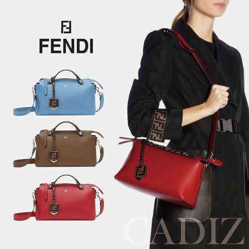 義大利真品Fendi PALE BLUE MEDIUM BY THE WAY BAG 淺藍棕紅色長型波士頓包8BL124