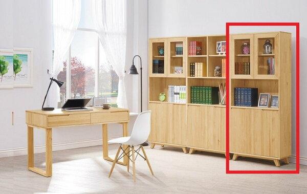【石川家居】YE-A485-03羅本北歐全實木2.7尺展示書櫃(不含其他商品)台北到高雄搭配車趟免運
