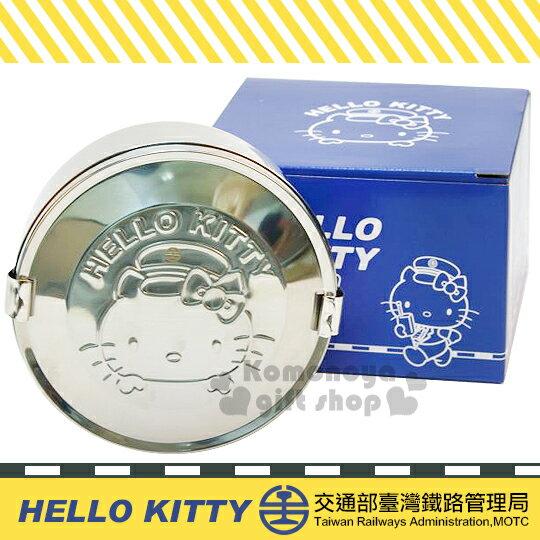 〔小禮堂〕Hello Kitty x 台鐵 雙層不鏽鋼便當盒《銀.圓型.大臉.帽子》新太魯閣號限定
