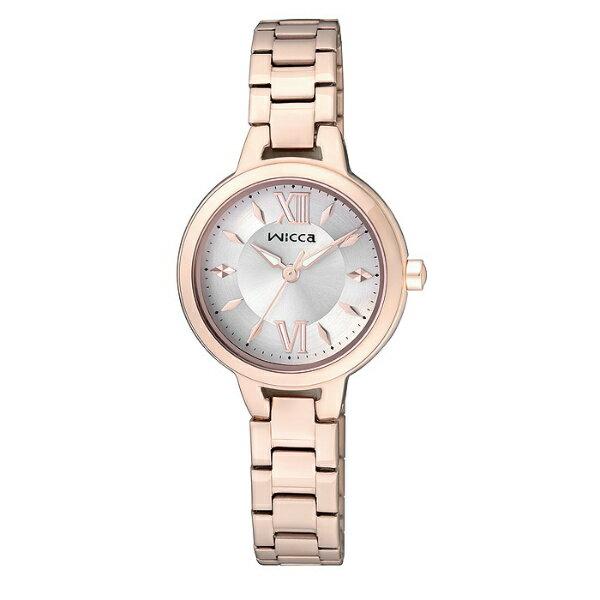 CITIZEN星辰WICCA(BG3-724-11)玫瑰金典雅時尚腕錶粉紅面26mm