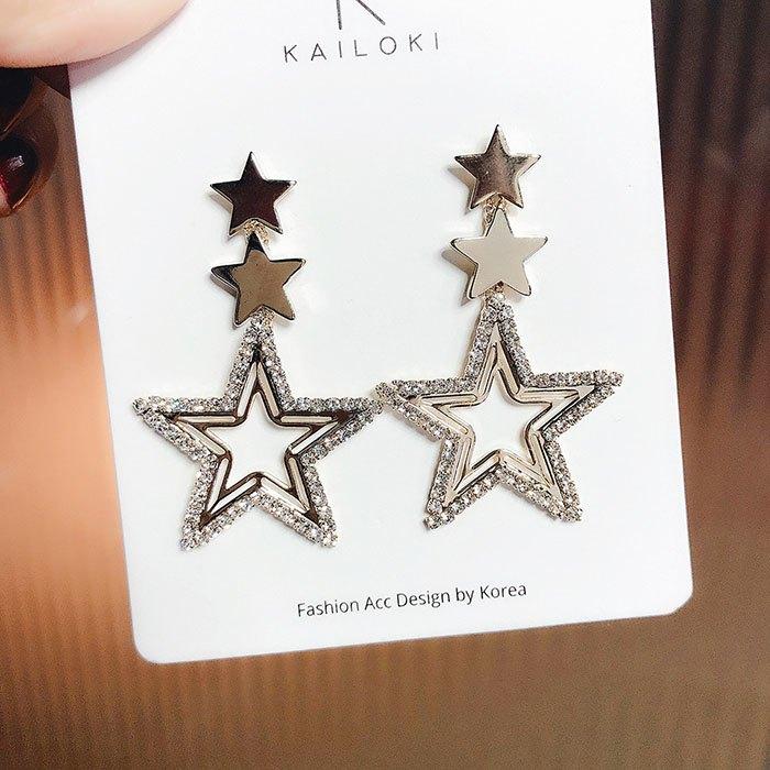 耳環 鏤空 星星 吊墜 鑲鑽 拼接 甜美 氣質 耳釘 耳環【DD1812038】 BOBI  03 / 07 5