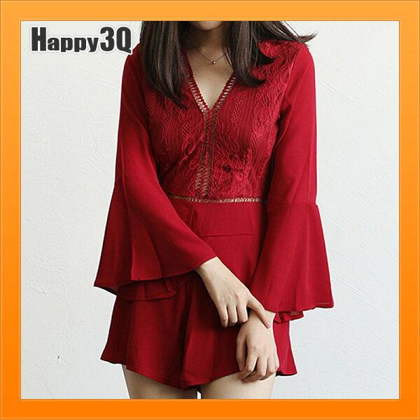 連身裙連身褲洋裝性感露背洋裝蕾絲洋裝喇叭袖洋裝-白藍紅黑S-L【AAA4941】