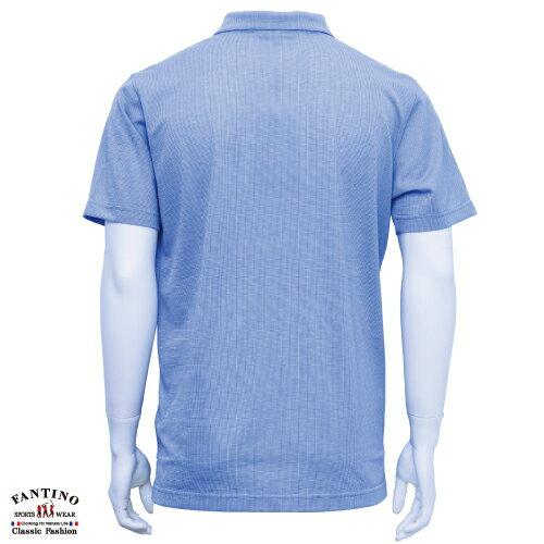 【FANTINO】男裝 微彈性素面拼接POLO衫大尺碼(淺藍紫色) 631139 1