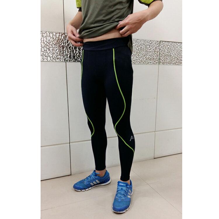 Attis Captain-完美曲線輕塑褲-男版(黑/車綠線) 運動 顯瘦 束褲 緊身褲 壓力褲 - 限時優惠好康折扣