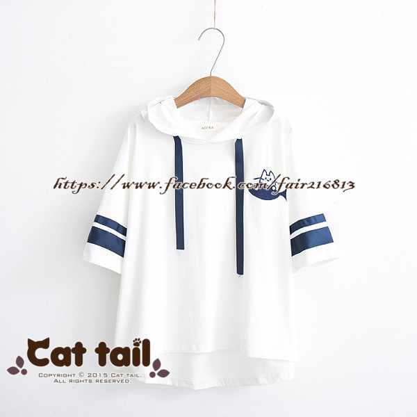 《貓尾巴》TS-0722運動風連帽短袖上衣(森林系日系棉麻文青清新)
