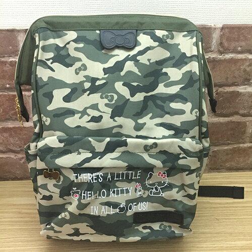 【真愛日本】17041700019 寬口後背包-KT迷彩 三麗鷗 Hello Kitty 凱蒂貓 後背包 書包 包包 提包