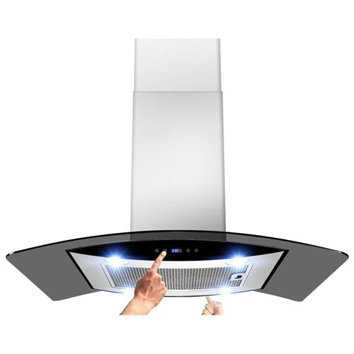 """AKDY New 36"""" European Style Island Mount Stainless Steel Range Hood Vent Touch Sensor Control W/Both Side Accessible Control AKTK-H603B-90 0"""