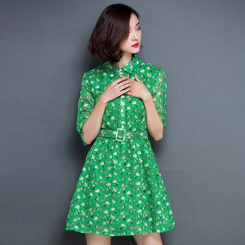 印花A字裙翻領短袖腰帶洋裝(2色,S~XL)-ORead自由風格