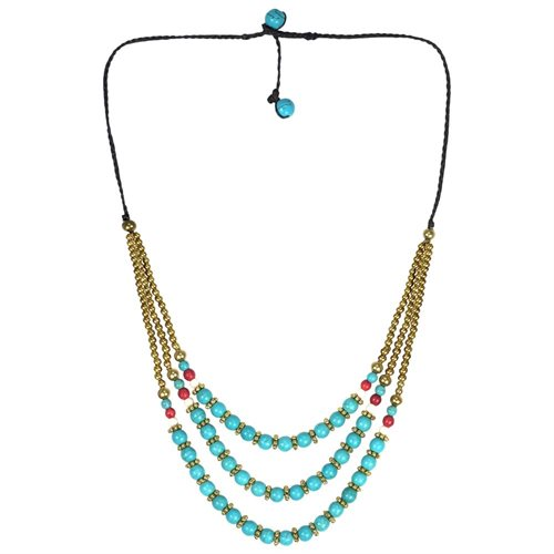 Classy Belle Triple Layer Turquoise Stone Brass Necklace 1