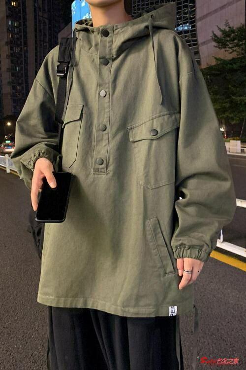 連帽外套 秋季復古連帽工裝外套男韓版寬鬆ins潮流男生帥氣軍綠色夾克上衣【全館免運 限時鉅惠】