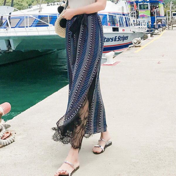 PS Mall 復古溫柔風蕾絲雪紡寬鬆寬口褲 【T355】 0