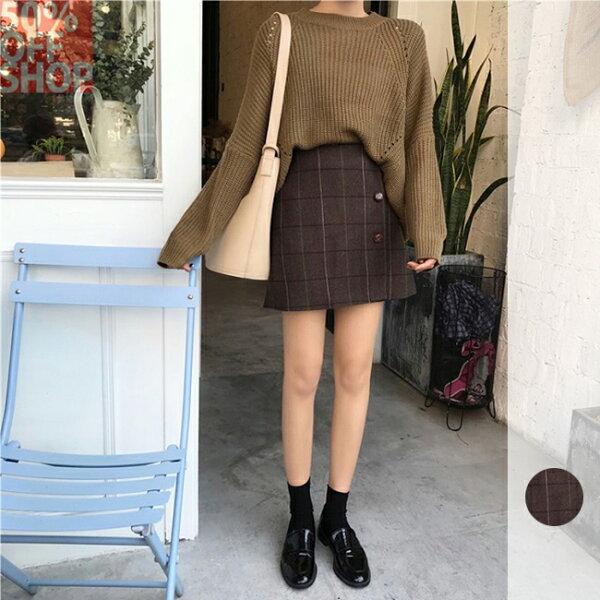 50 OFF SHOP:50%OFFSHOP韓版毛呢格子高腰半身裙(1色)(S-M)【G032593S】