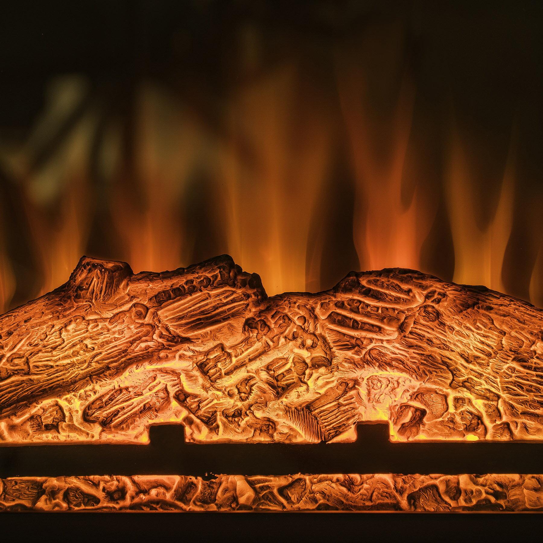 "AKDY 27"" Electric Fireplace Freestanding White Wooden Mantel Firebox 3D Flame w/ Logs Heater 4"