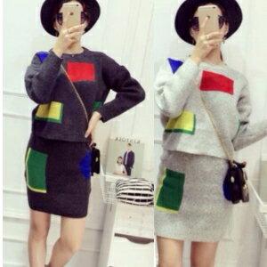 美麗大街【R1016e27e251】baby同款幾何撞色套頭毛衣半身裙女