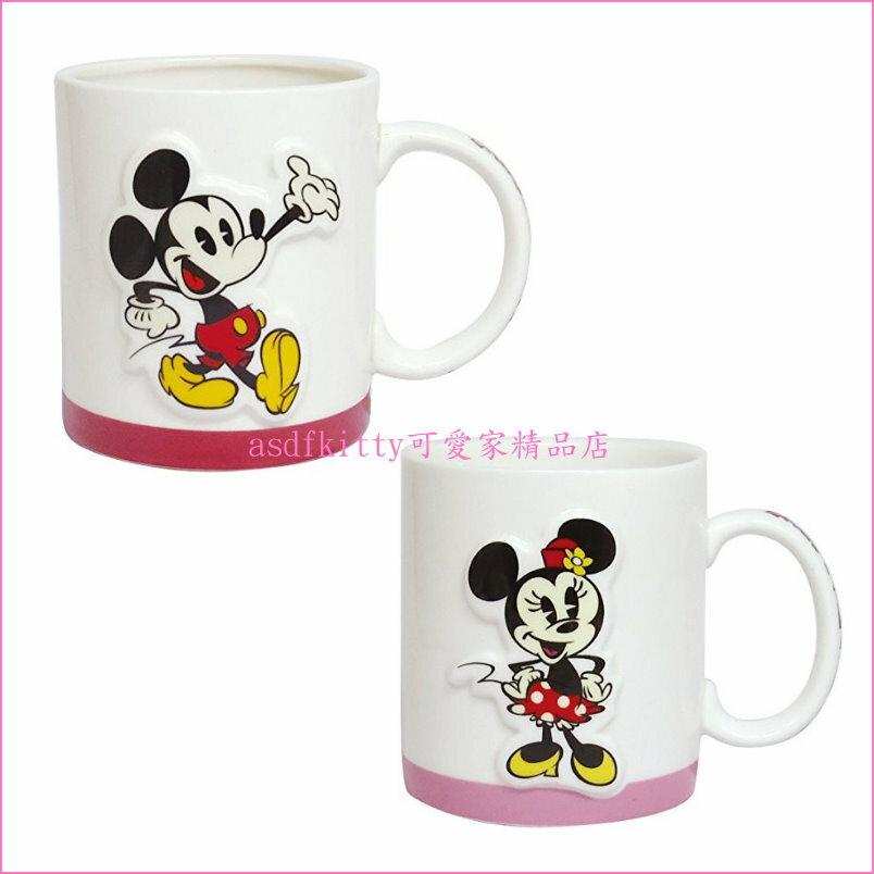asdfkitty可愛家☆迪士尼米奇米妮立體造型陶瓷對杯組/馬克杯組-日本正版商品