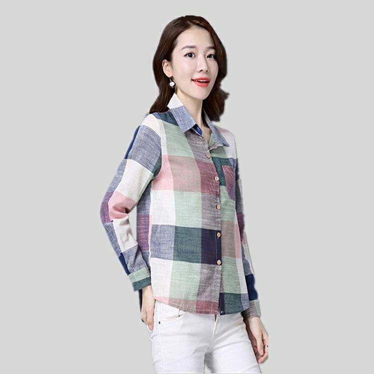棉麻襯衫 2021新款薄款格子襯衫女長袖棉麻上衣韓版學生休閒寬鬆襯衣女【顧家家】