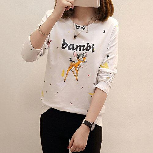 韓版卡通字母圖案打底衫T恤(4色M~2XL) 【OREAD】 0
