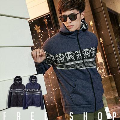 Free Shop~QBJA1021~ 北歐雪花民族風圖騰拼布棉質保暖立領連帽外套‧二色