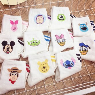 PGS7 (現貨+預購) 迪士尼系列商品 - 正韓 迪士尼 可愛 人物 大頭 長襪 襪子