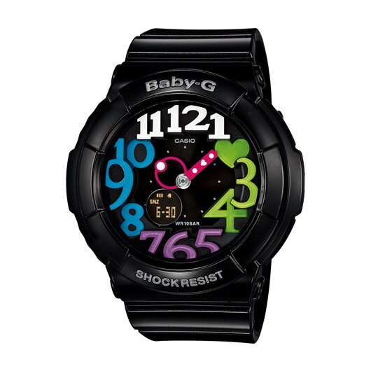 CASIO BABY-G BGA-131-1B2DR霓虹黑雙顯流行腕錶/黑面42.8mm