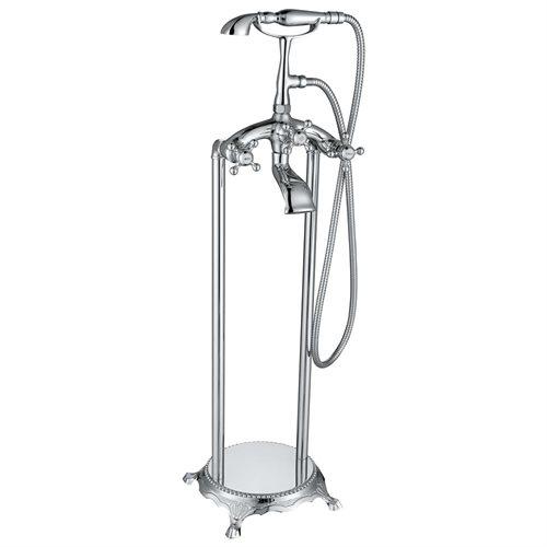 "39"" TF0023 Freestanding Tub Filler Cross Knobs Handle Telephone Bath Faucet Bathtub Shower AKTF0023 0"