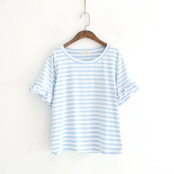 條紋圓領荷葉袖短袖T恤樂天時尚館。預購。[全店免運]