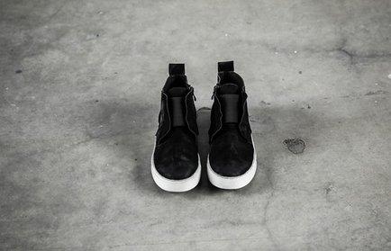 FINDSENSE服飾:FINDSENSEMD日系高品質時尚潮鬆緊帶牛皮高幫低跟休閒鞋短靴