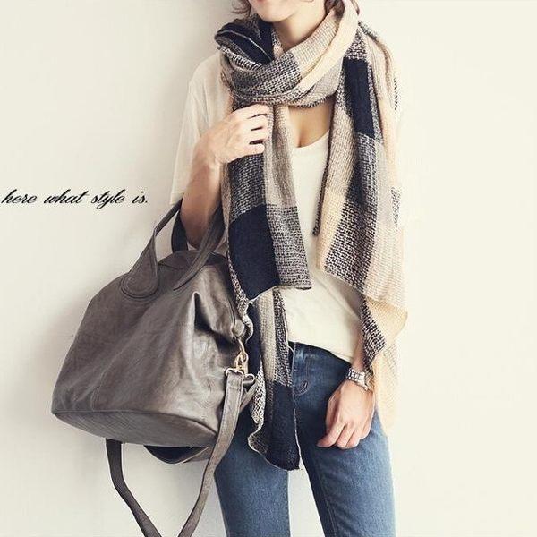 韓國 格紋圍巾 披肩脖圍 棉麻亞麻 可搭正韓毛帽手套靴子包包 外套 襯衫【FA001】