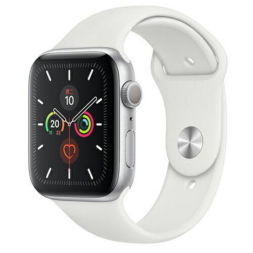 Apple Watch Series 5銀色鋁金屬錶殼+白色運動型錶帶-GPS+行動網路(44mm)【愛買】