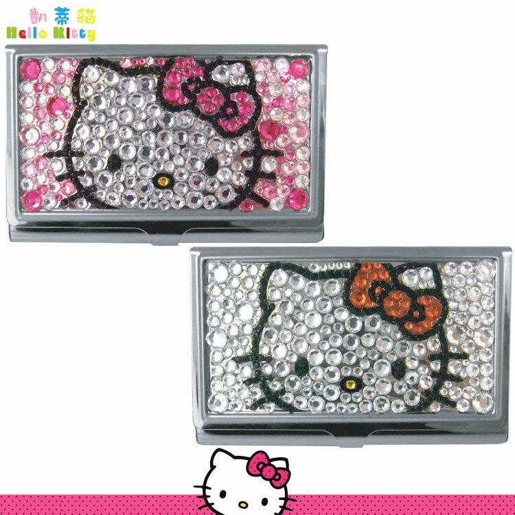 三麗鷗 凱蒂貓 Hello Kitty 亮鑽名片盒 卡片盒 便條紙 收納盒 兩色 日本進口正版 953075