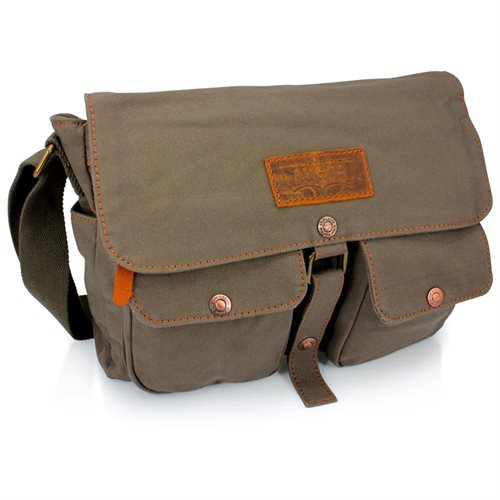 Men S Vintage Canvas Leather Satchel School Military Shoulder Messenger Crossbody Hiking Bag Green 0
