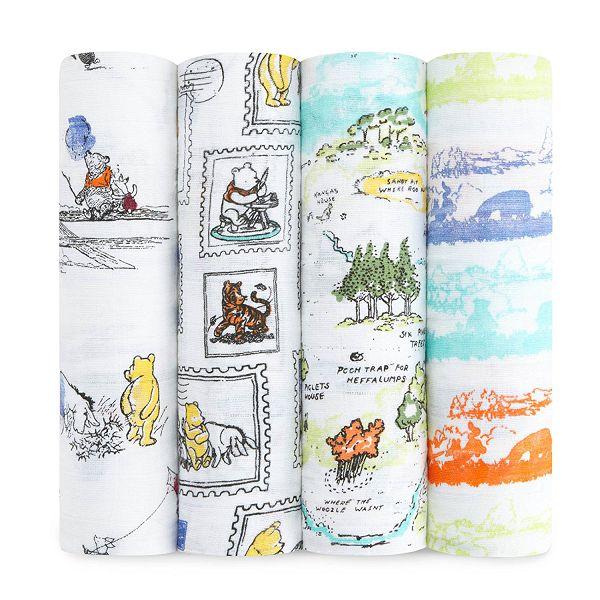 美國 aden + anais 純棉包巾4入(迪士尼聯名款)/禮盒/彌月-小熊維尼