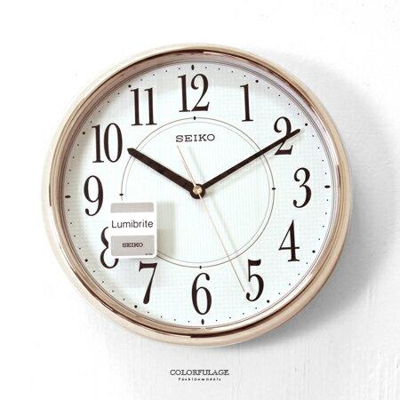 SEIKO精工時鐘 質感香檳金夜光面板數字圓形掛鐘 清晰大數字 簡約 柒彩年代【NG6】原廠公司貨 - 限時優惠好康折扣