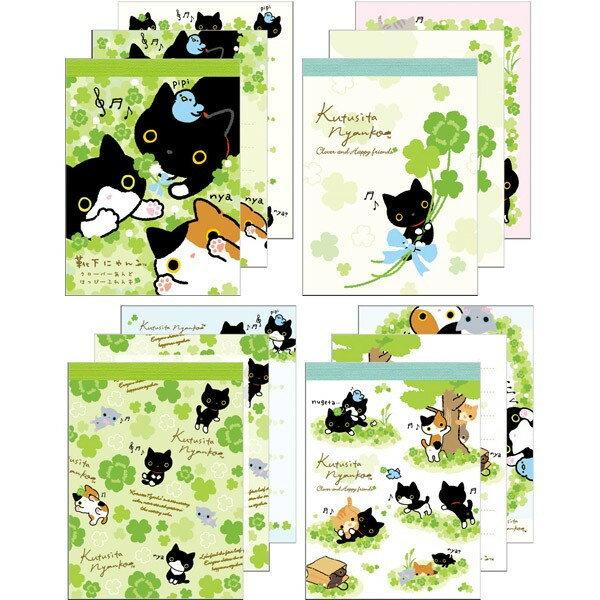 【真愛日本】16030800015靴下貓便條紙小-幸運草4款靴下貓 便條紙 便條本 文具用品