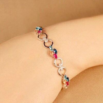~925純銀手鍊 水晶手環~ 簡約唯美 母親節生日情人節 女飾品3色73fg37~ ~~米